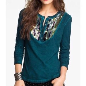 Free People Tiger Eyes Turquoise Long Sleeve Top S